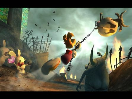 Rayman throws a cow